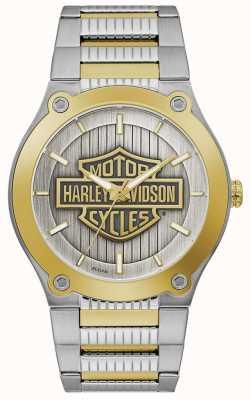 Harley Davidson Tweekleurige stalen herenarmband | zilveren wijzerplaat 78A125