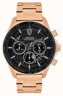 Scuderia Ferrari Pilota evo heren | rosé vergulde stalen armband | zwarte wijzerplaat 0830825