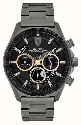 Scuderia Ferrari Pilota evo heren | grijze ip stalen armband | zwarte wijzerplaat 0830824