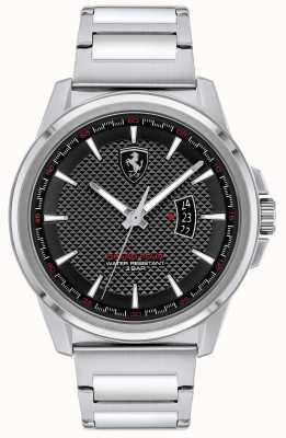 Scuderia Ferrari Grote ronde heren | roestvrijstalen armband | zwarte wijzerplaat 0830834