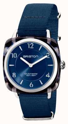 Briston Clubman chic | zilveren 36 mm marineblauwe wijzerplaat | marineblauwe nato-band 21536.SA.UB.33.NMB