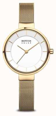Bering Solar verguld mesh armbandhorloge voor dames 14631-324