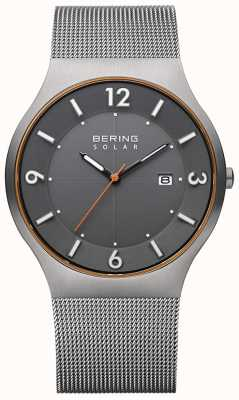 Bering Zonne | heren | grijze stalen mesh armband 14440-073-A