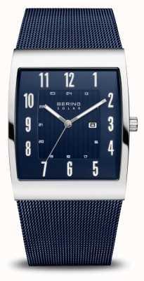 Bering Zonne | heren | gepolijst zilver | blauwe mesh armband 16433-307