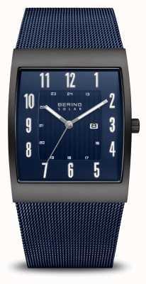 Bering Zonne | heren | geborsteld zwart | blauwe mesh armband 16433-327