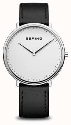 Bering Klassiek unisex horloge met zwarte leren band 15739-404