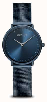 Bering Klassiek ultraslank blauw monochroom horloge 15729-397