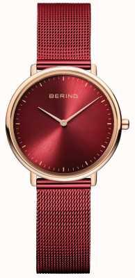 Bering Klassiek dameshorloge in rood en roségoud 15729-363