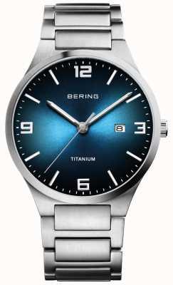 Bering Herenhorloge met geborstelde titaniumblauwe wijzerplaat 15240-777