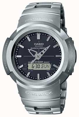 Casio G-schok | volledig metalen armband | zwarte wijzerplaat | radiografisch bestuurbare AWM-500D-1AER