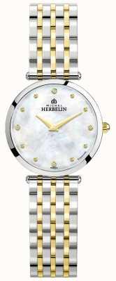 Michel Herbelin Epsilon | parelmoer wijzerplaat | tweekleurige stalen armband 17116/BT89