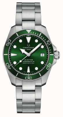 Certina Ds actie duiker | groene wijzerplaat | roestvrij stalen armband C0328071109100