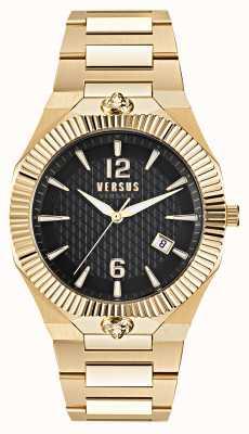 Versus Versace Echo park gouden roestvrijstalen horloge met zwarte wijzerplaat VSP1P0721