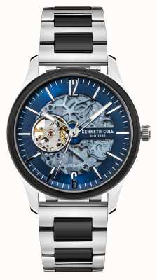Kenneth Cole Automatisch | donkerblauwe wijzerplaat | tweekleurige roestvrijstalen armband KC50224001B