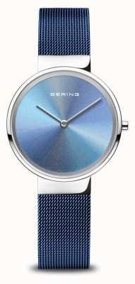 Bering Verjaardag | vrouwen | gepolijst zilver | blauwe mesh armband 10X31-ANNIVERSARY2