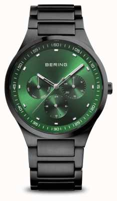 Bering Klassiek | heren | geborsteld zwart | groene wijzerplaat 11740-728