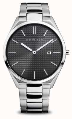 Bering Ultradun | heren | gepolijst / geborsteld zilver | zwarte wijzerplaat 17240-702
