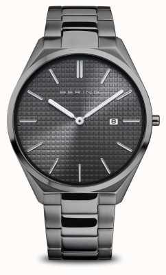 Bering Ultradun | heren | gepolijst / geborsteld grijs | grijze wijzerplaat 17240-777