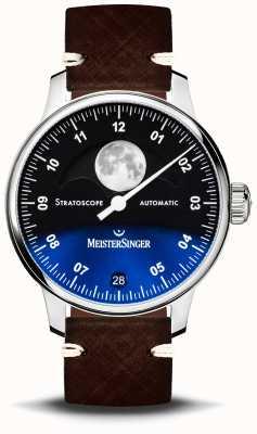 MeisterSinger Stratoscope 43 mm lederen band ST982