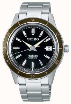 Seiko Presage stijl jaren '60 zwarte wijzerplaat stalen armband SRPG07J1