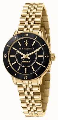 Maserati Succesvol dameshorloge op zonne-energie in zwart en goud R8853145503