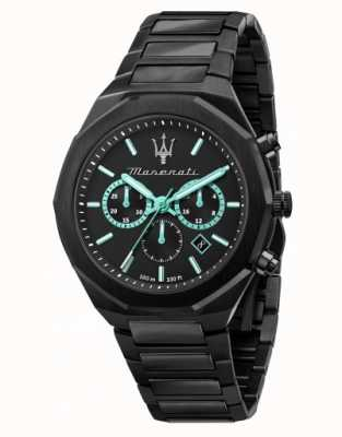 Maserati Stile aqua edition zwart verguld horloge R8873644001