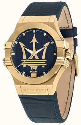 Maserati Potenza heren blauw lederen band horloge R8851108035