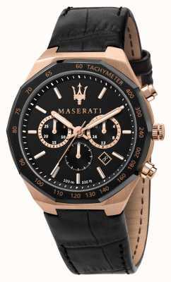 Maserati Stile chronograaf heren zwarte leren band R8871642001