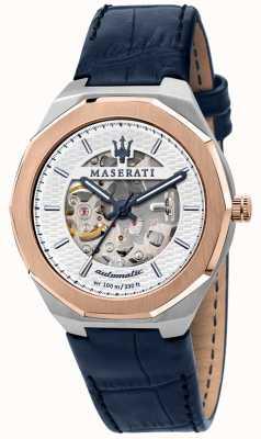 Maserati Herenstijl automatisch | blauwe leren band | zilveren skelet wijzerplaat R8821142001