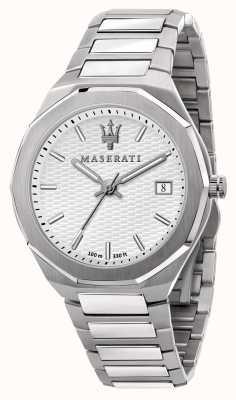 Maserati Heren stile 3 uur data witte wijzerplaat horloge R8853142005