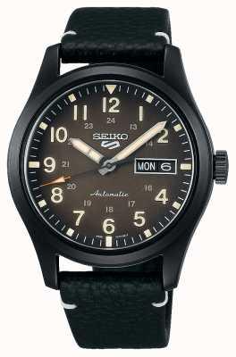 Seiko Horloge met 5 sportvelden zwart geplateerde lederen band SRPG41K1