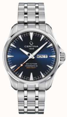 Certina Ds action day-date powermatic 80 blauwe wijzerplaat C0324301104100