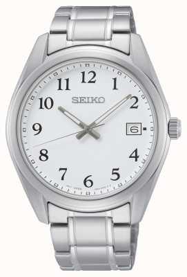Seiko Witte wijzerplaat 40,2 mm roestvrijstalen armbandhorloge SUR459P1