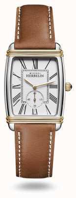 Michel Herbelin Dames art deco horloge bruin leren band 10638/T08GO