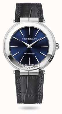Michel Herbelin Newport slim 42 mm horloge met blauwe wijzerplaat 1222/AP15