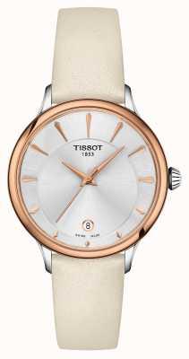 Tissot Odaci-t gesegmenteerde zilveren wijzerplaat crème lederen band T1332102603100