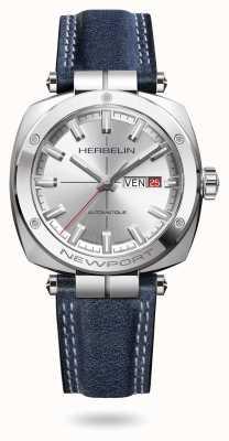 Michel Herbelin Newport erfgoed zilveren sunray wijzerplaat horloge 1764/AP11BL