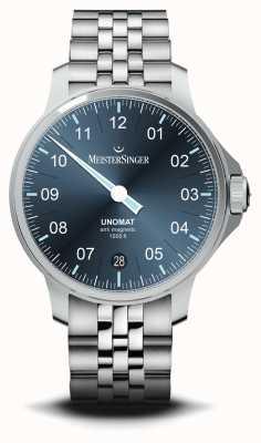 MeisterSinger Unomat blauwe sunray wijzerplaat roestvrij stalen horloge UN917