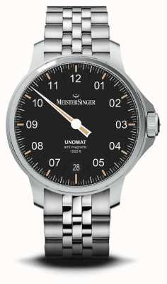 MeisterSinger Unomat zwarte sunray wijzerplaat roestvrij stalen armband UN902