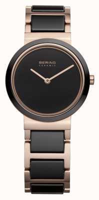 Bering Dames | gepolijst roségoud | zwarte en rosé gouden armband 10729-746