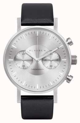 Klasse14 Chronograaf zilveren wijzerplaat zwarte leren band VO15CH001M