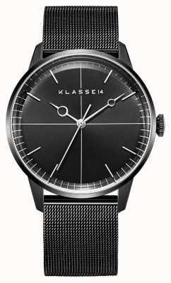 Klasse14 Disco volante 40 mm zwarte milanese mesh armband WDI19BB001M