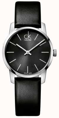 Calvin Klein Stad dames zwarte wijzerplaat zwarte lederen band K2G23107